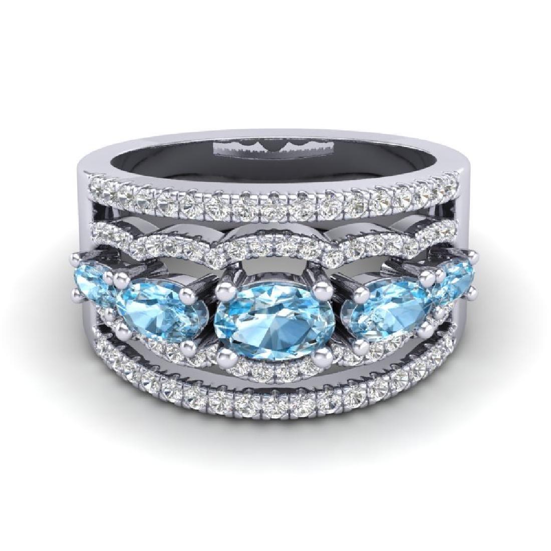 2.25 CTW Sky Blue Topaz & Micro Pave VS/SI Diamond
