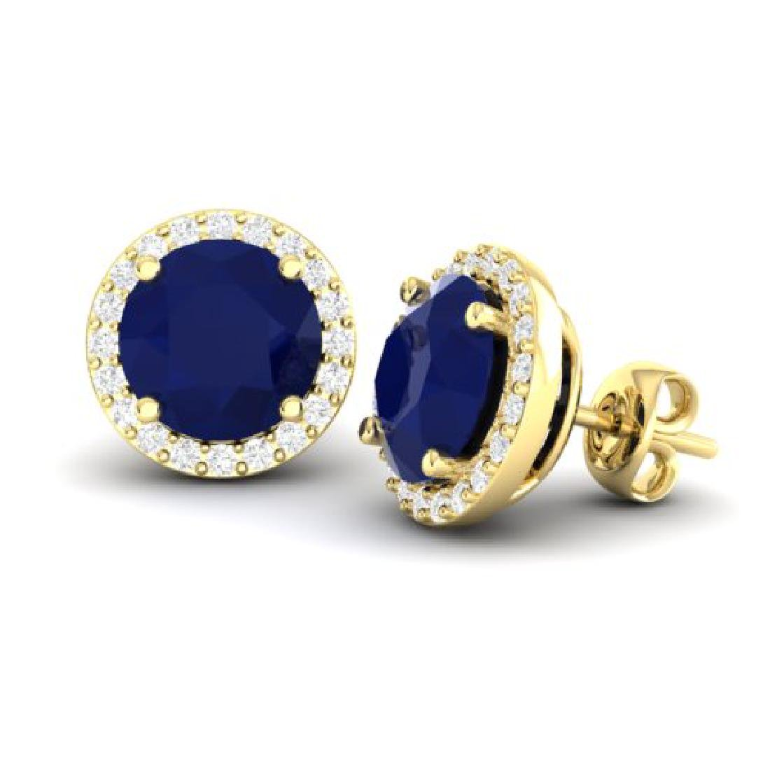4 CTW Sapphire & Halo VS/SI Diamond Micro Pave Earrings - 2