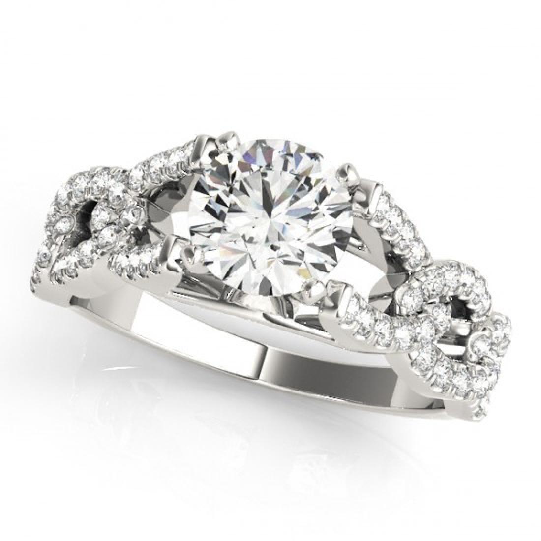 1 CTW Certified VS/SI Diamond Solitaire Ring 14K White - 2