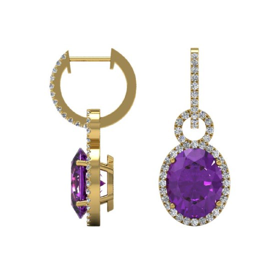 6 CTW Amethyst & Micro Pave Solitaire Halo VS/SI - 2
