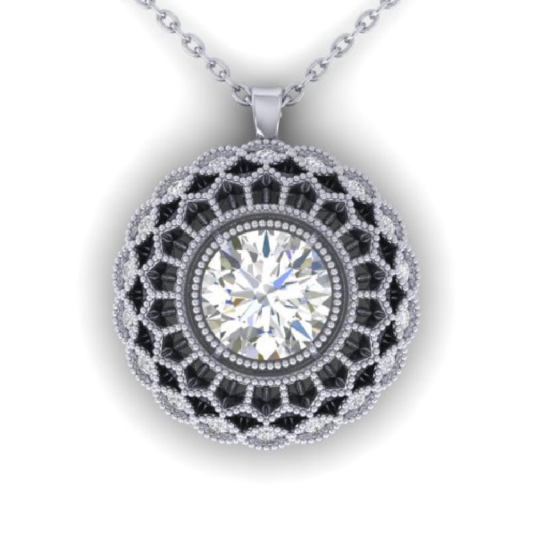 1.25 CTW Certified VS/SI Diamond Art Deco Necklace 18K