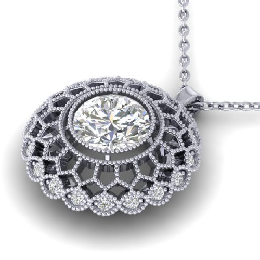 1.25 CTW Certified VS/SI Diamond Art Deco Necklace 18K - 2
