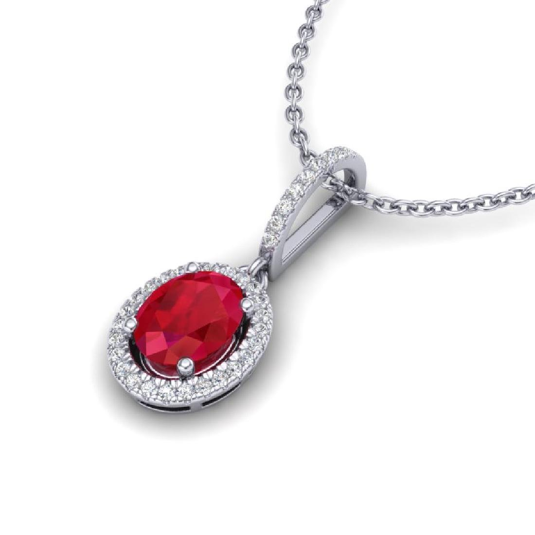 2 CTW Ruby & Micro Pave VS/SI Diamond Necklace - 2