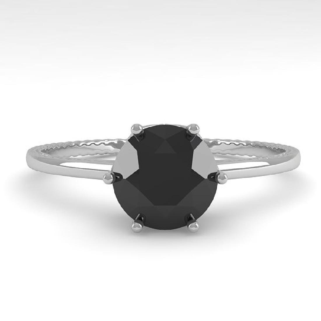 1.0 CTW Black Diamond Art Deco Ring 14K White Gold