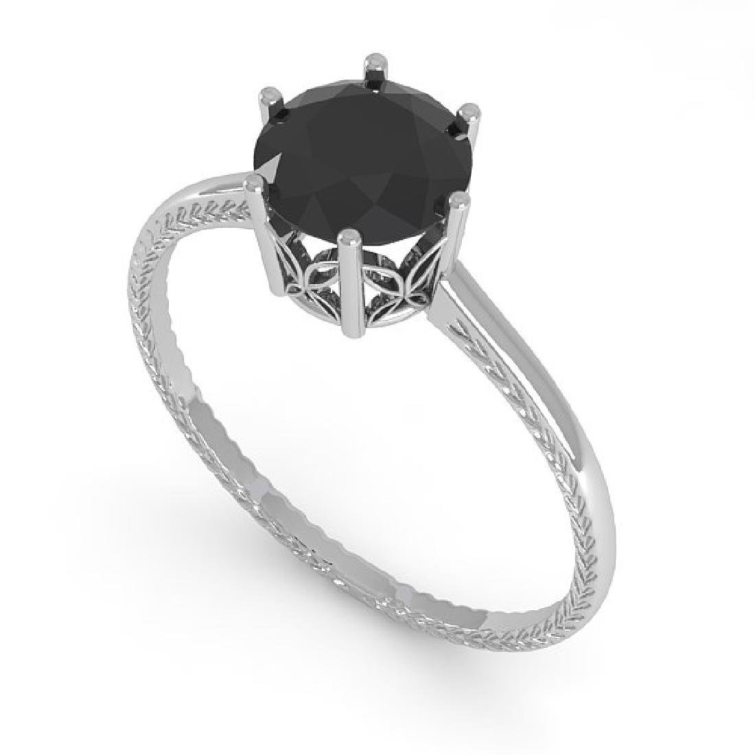 1.0 CTW Black Diamond Art Deco Ring 14K White Gold - 2