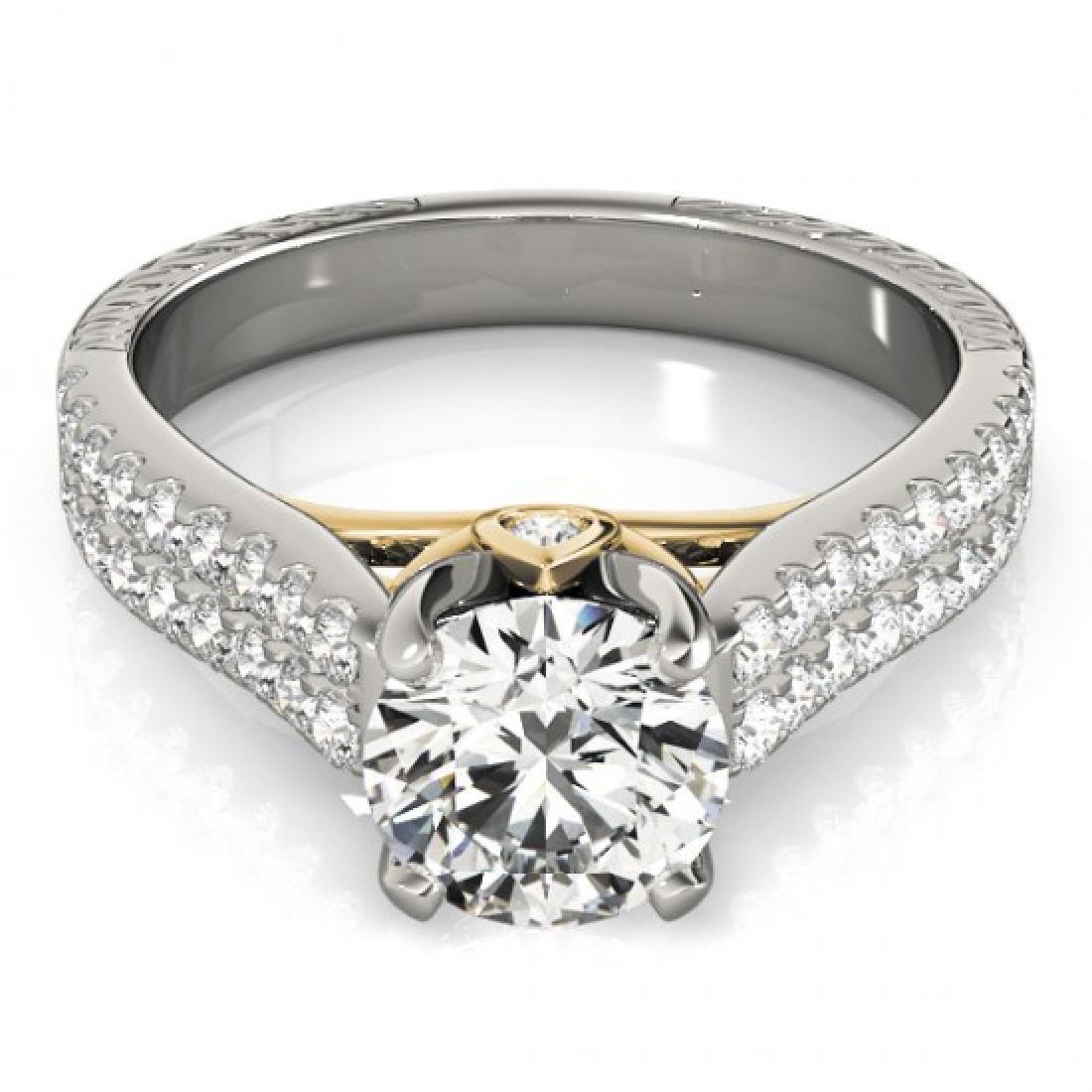 1.61 CTW Certified VS/SI Diamond Pave Ring 14K White &