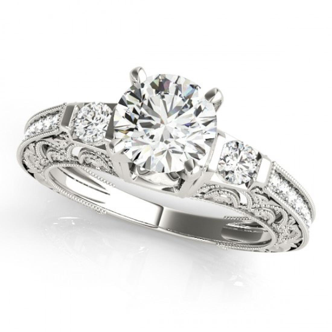 0.91 CTW Certified VS/SI Diamond Solitaire Antique Ring - 2