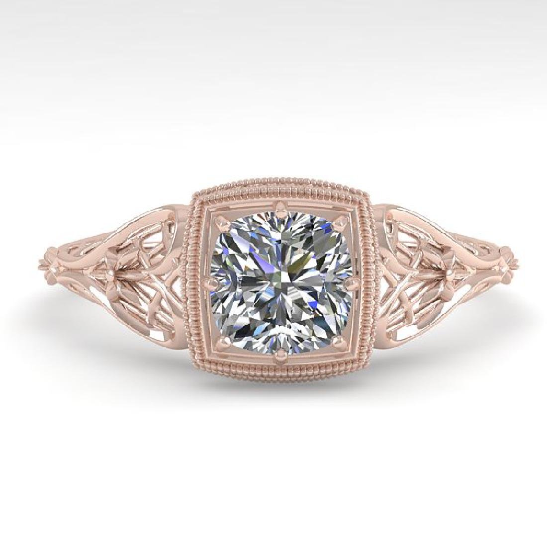 0.50 CTW Certified VS/SI Cushion Diamond Ring Art Deco