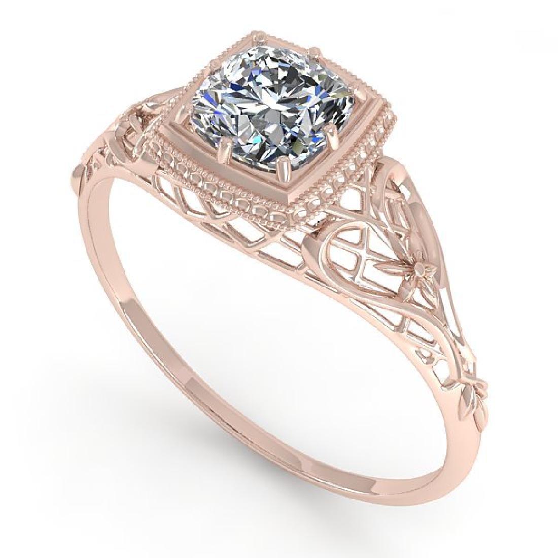 0.50 CTW Certified VS/SI Cushion Diamond Ring Art Deco - 2