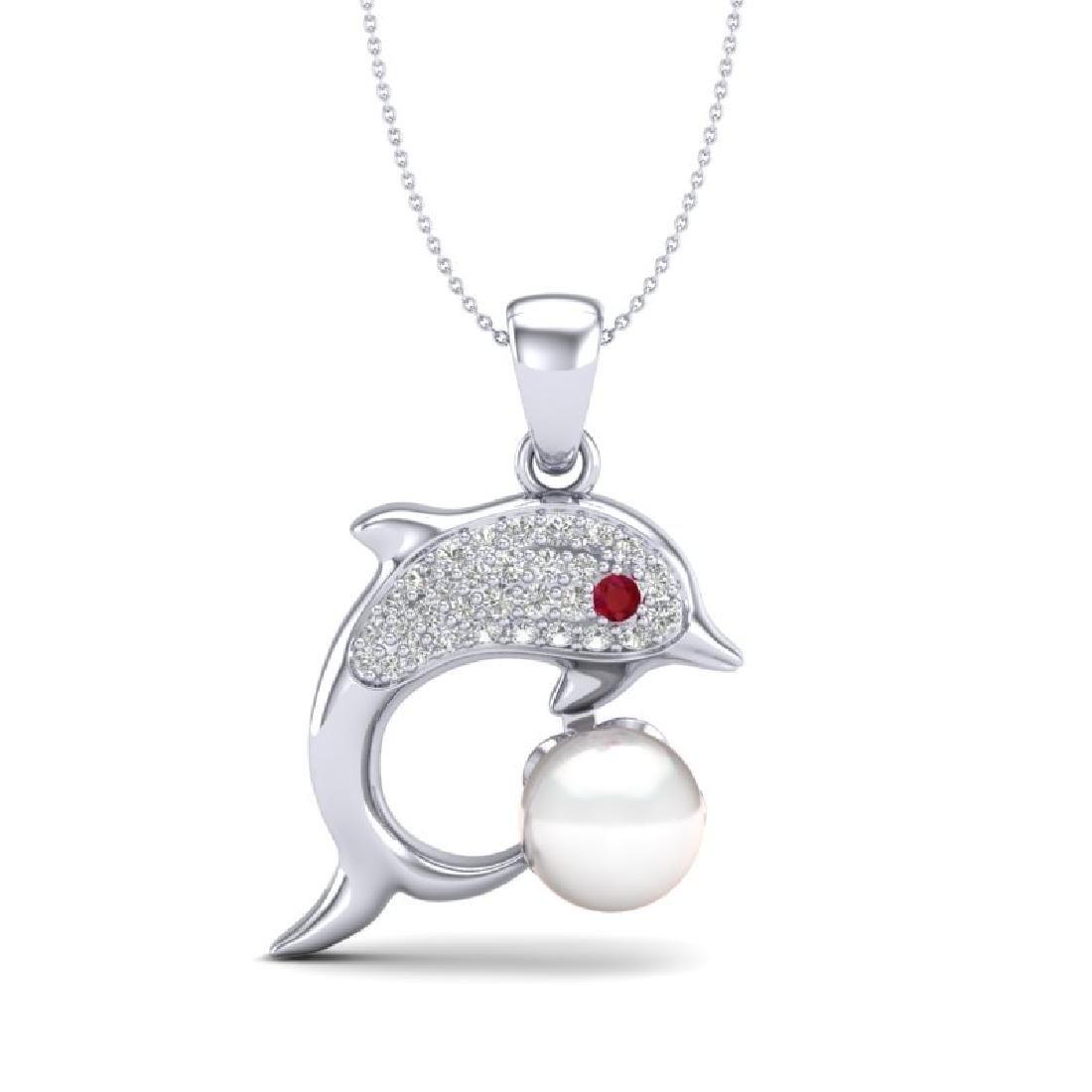 0.65 CTW VS/SI Diamond & White Pearl Dolphin Necklace - 2