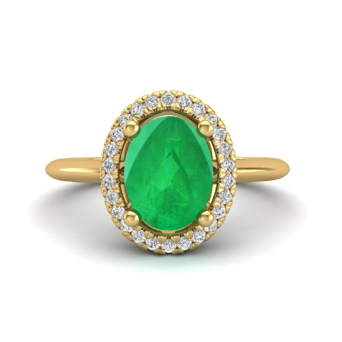 2 CTW Emerald & Micro Pave VS/SI Diamond Ring Halo 18K