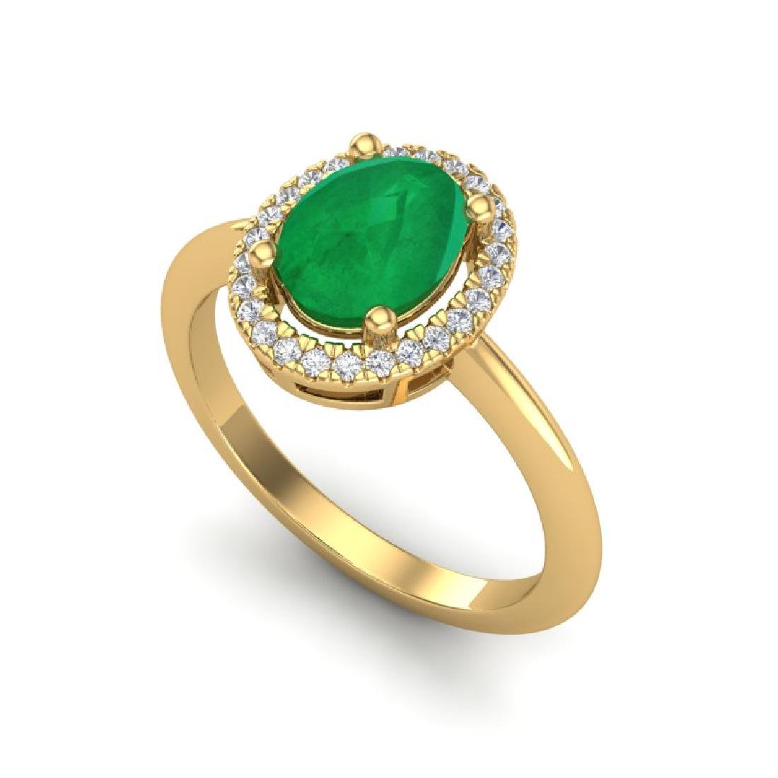 2 CTW Emerald & Micro Pave VS/SI Diamond Ring Halo 18K - 2