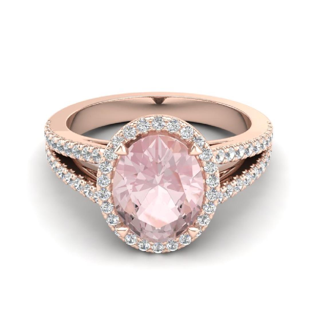3 CTW Morganite & Micro VS/SI Diamond Halo Solitaire