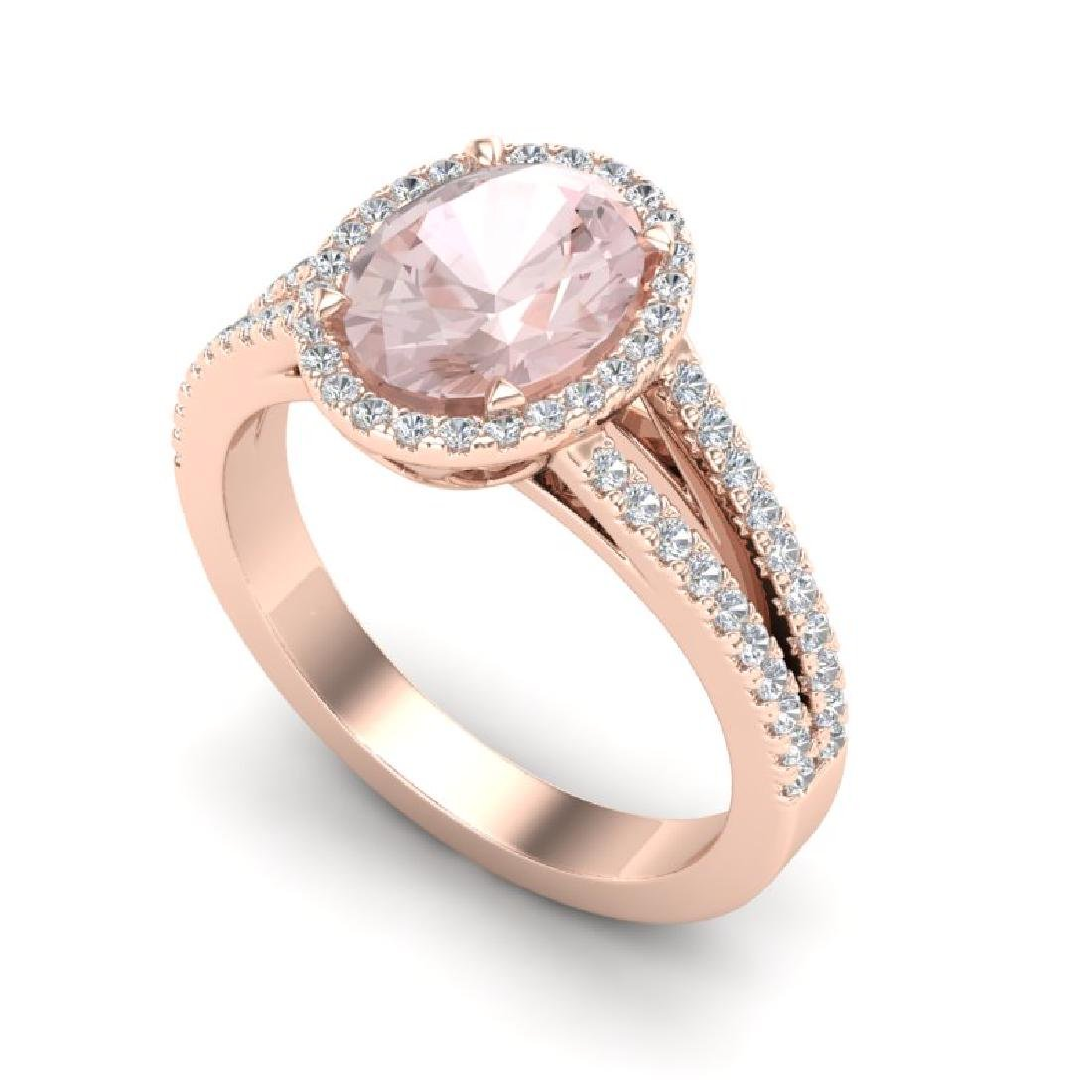3 CTW Morganite & Micro VS/SI Diamond Halo Solitaire - 2