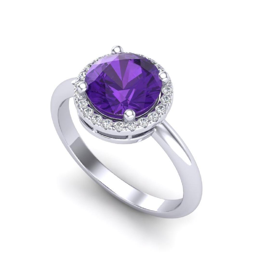 2 CTW Amethyst & Micro Pave VS/SI Diamond Ring Halo 18K - 2