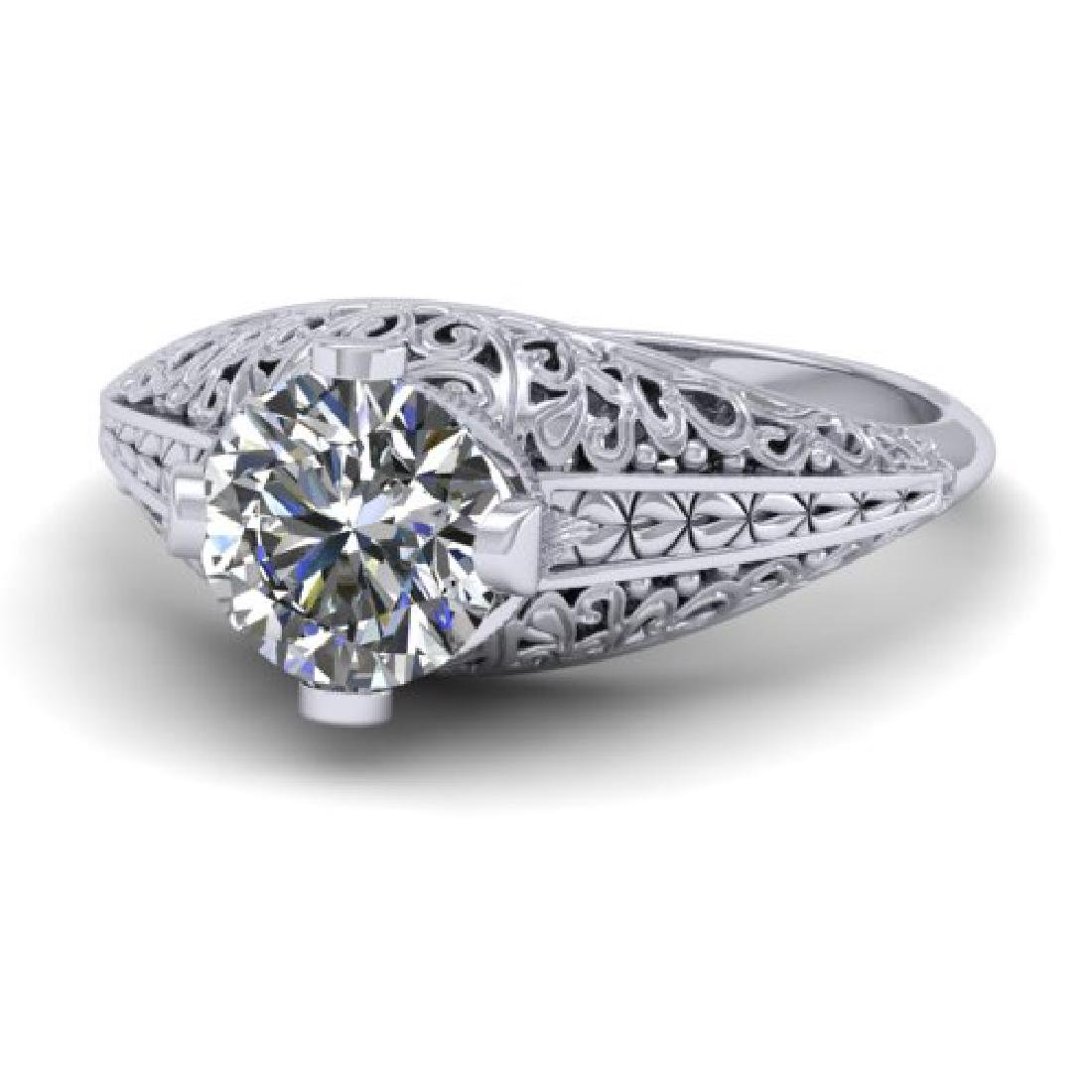 1 CTW Solitaire Certified VS/SI Diamond Ring 18K White - 2