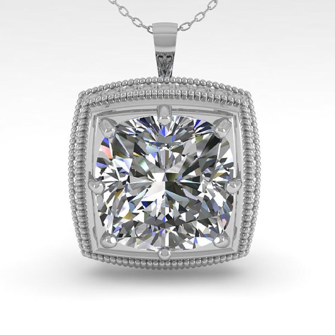 1 CTW VS/SI Cushion Cut Diamond Solitaire Necklace 14K - 2