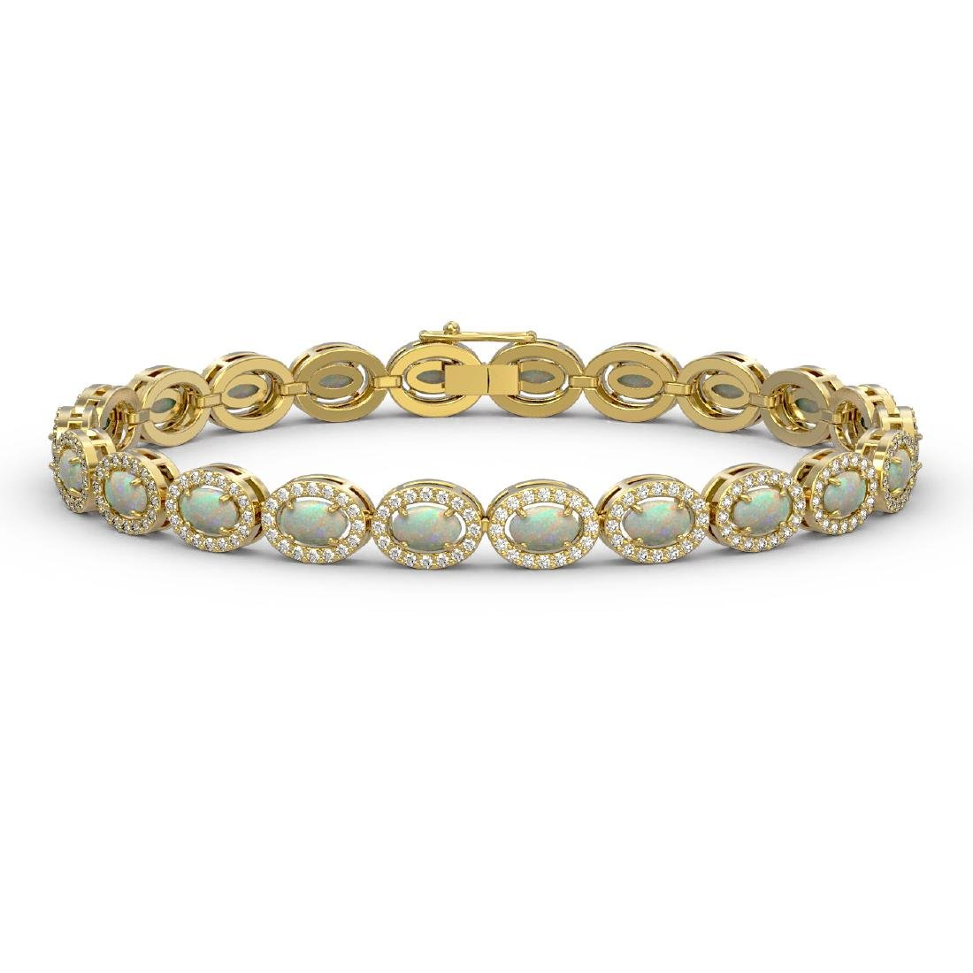8.28 CTW Opal & Diamond Halo Bracelet 10K Yellow Gold