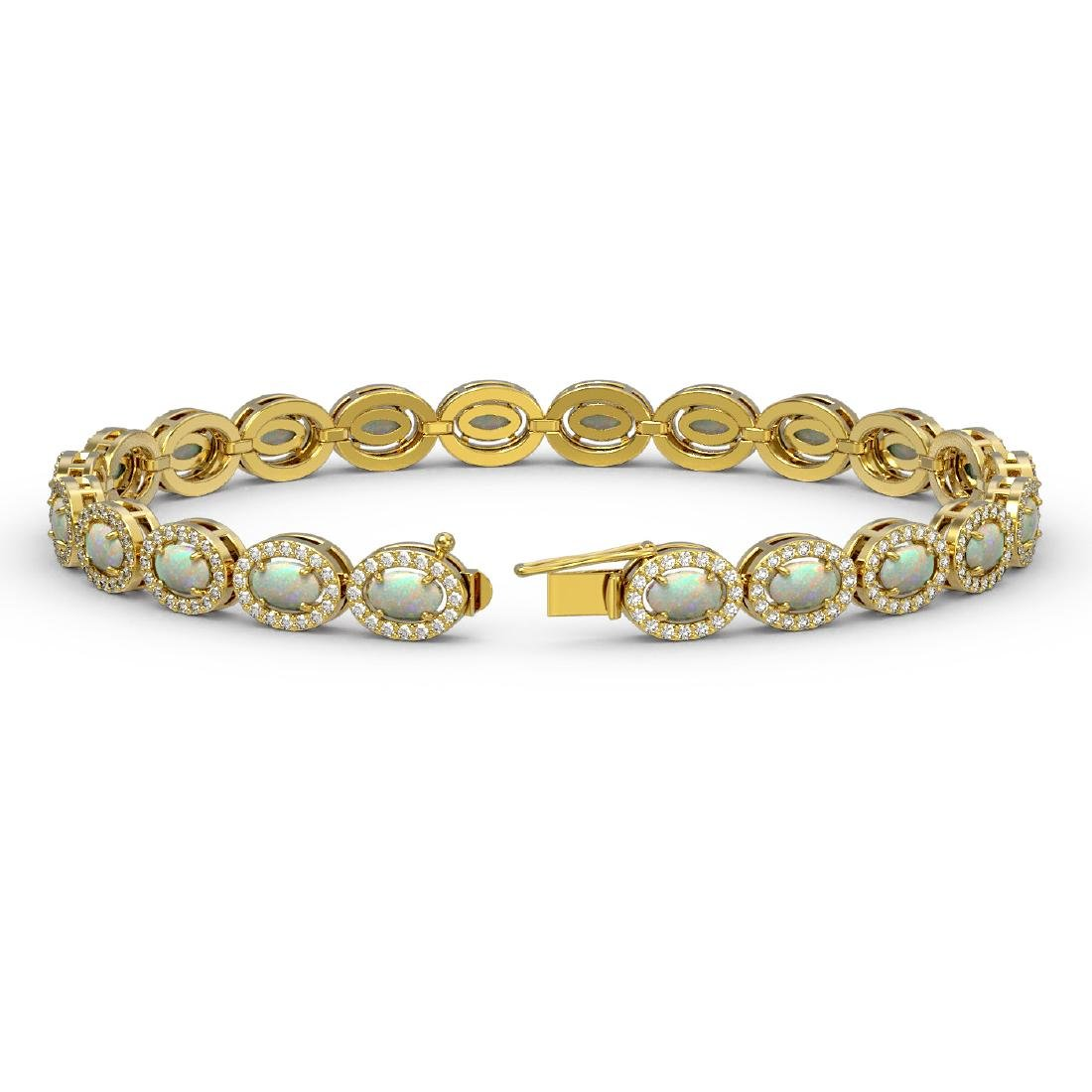 8.28 CTW Opal & Diamond Halo Bracelet 10K Yellow Gold - 2