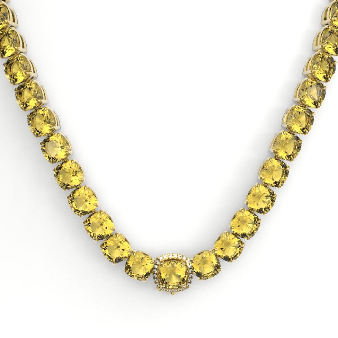 87 CTW Citrine & VS/SI Diamond Halo Micro Pave Necklace - 2