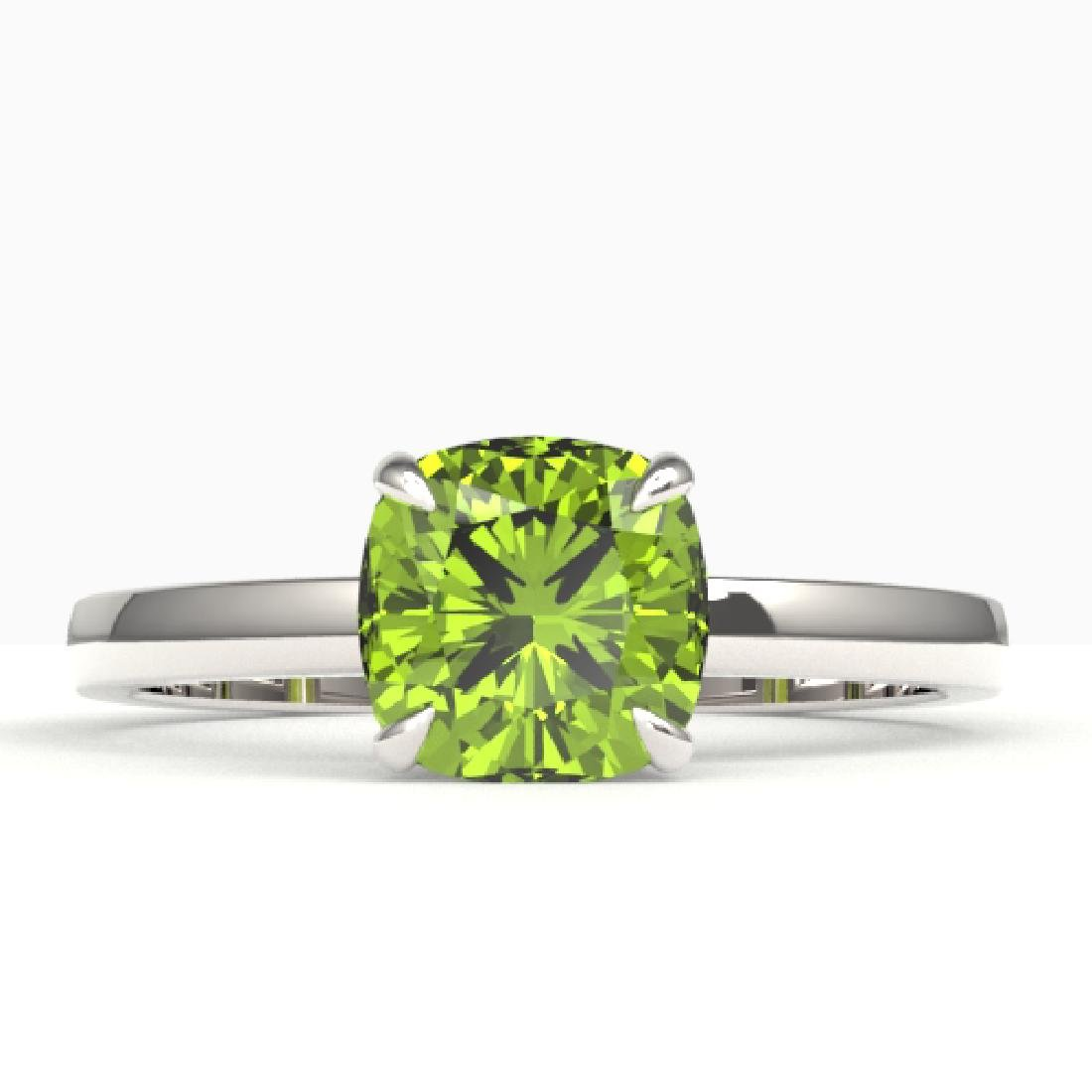 2 CTW Cushion Cut Peridot Solitaire Engagement Ring 18K