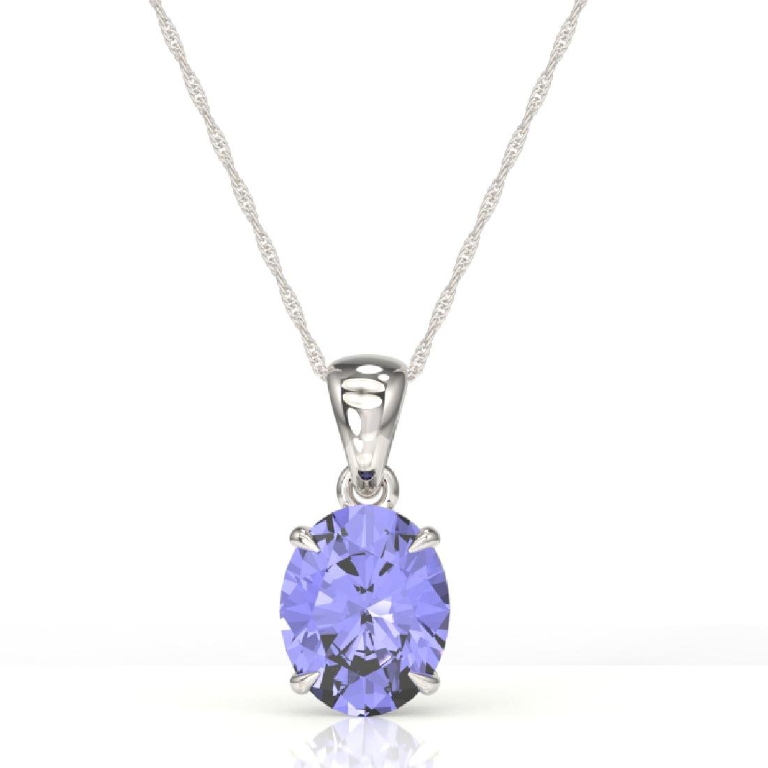 3.50 CTW Tanzanite Designer Inspired Solitaire Necklace - 2