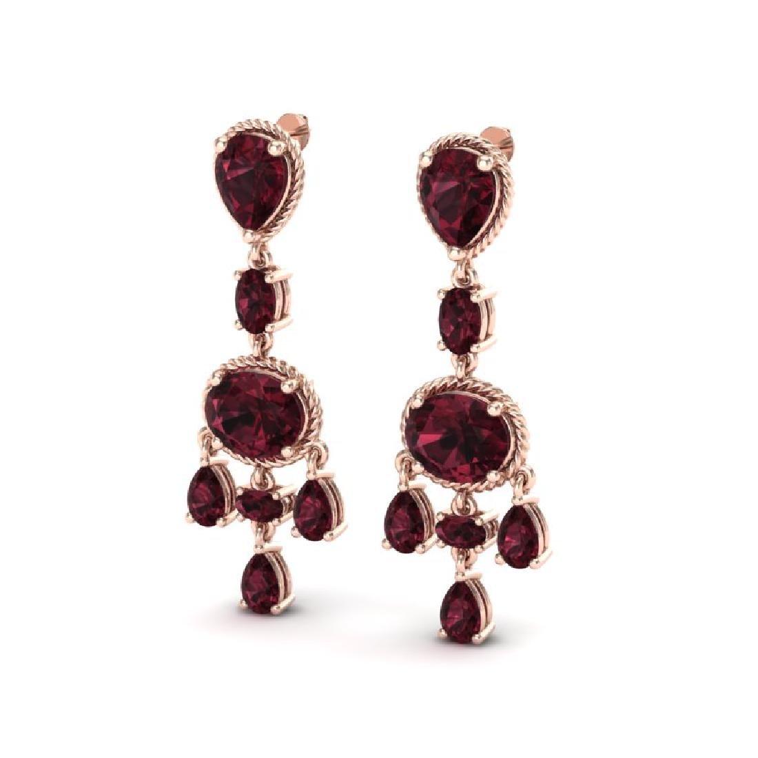 16 CTW Garnet Earrings Designer Vintage 10K Rose Gold