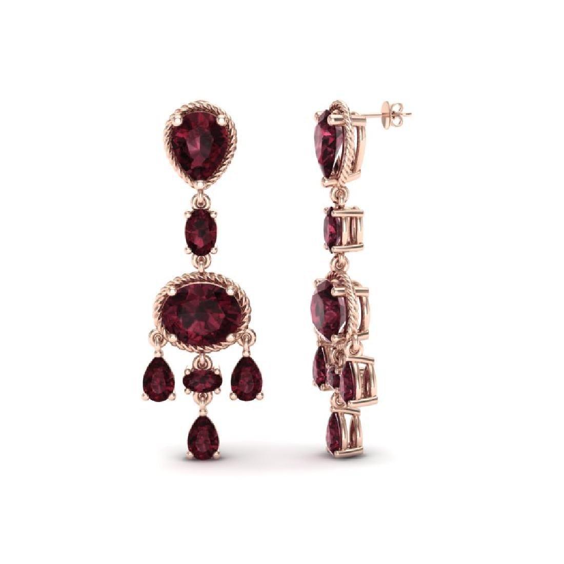 16 CTW Garnet Earrings Designer Vintage 10K Rose Gold - 2