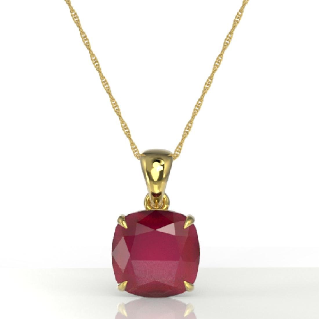 6 Cushion Cut Ruby Designer Inspired Solitaire necklace - 2