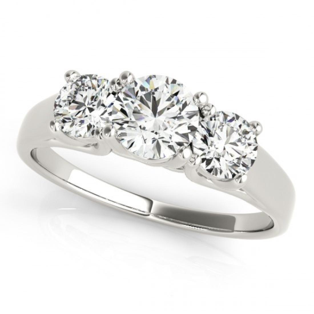 1.5 CTW Certified VS/SI Diamond 3 Stone Ring 14K White - 2