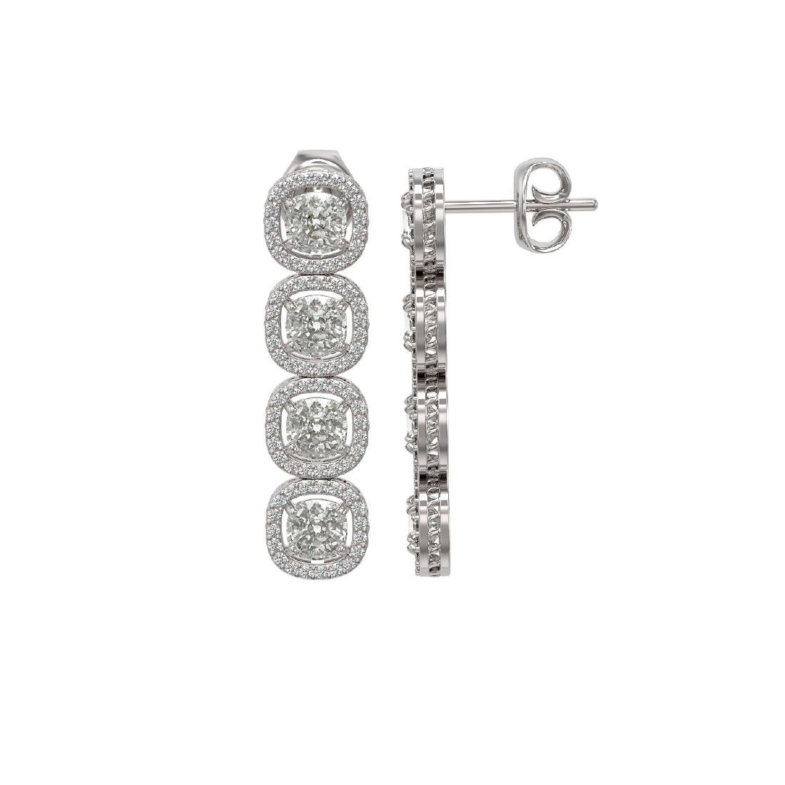 5.28 CTW Cushion Diamond Designer Earrings 18K White - 2