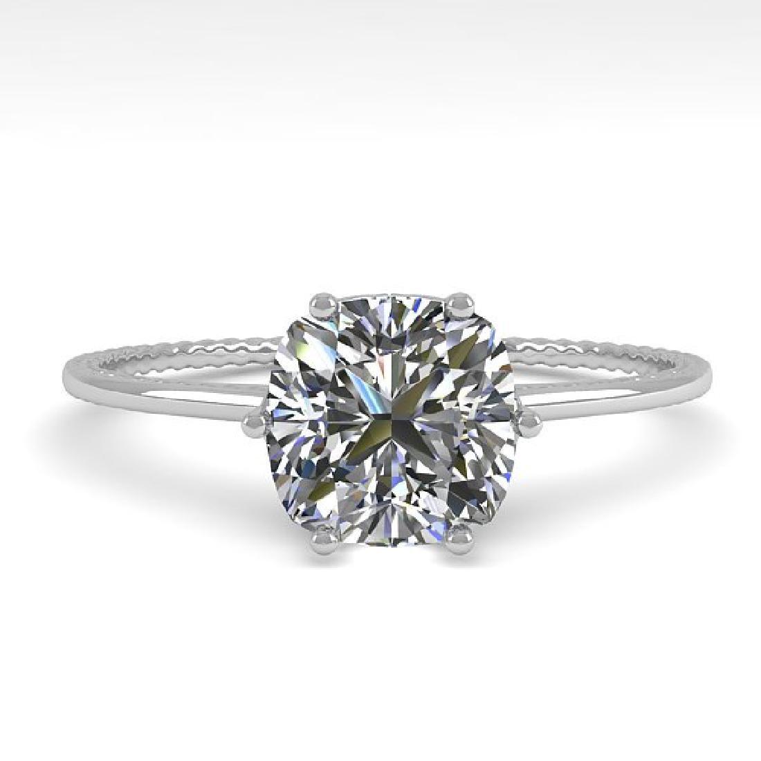 1.0 CTW VS/SI Cushion Diamond Art Deco Ring 14K White