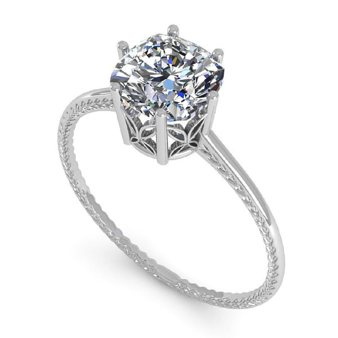 1.0 CTW VS/SI Cushion Diamond Art Deco Ring 14K White - 2