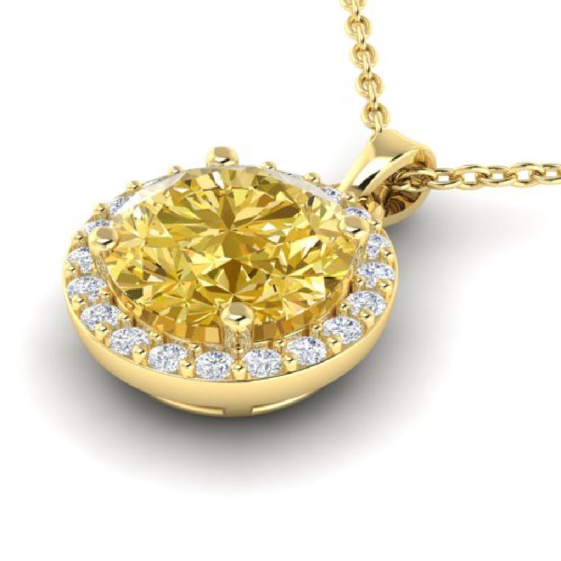 2 CTW Citrine & Halo VS/SI Diamond Micro Pave Necklace