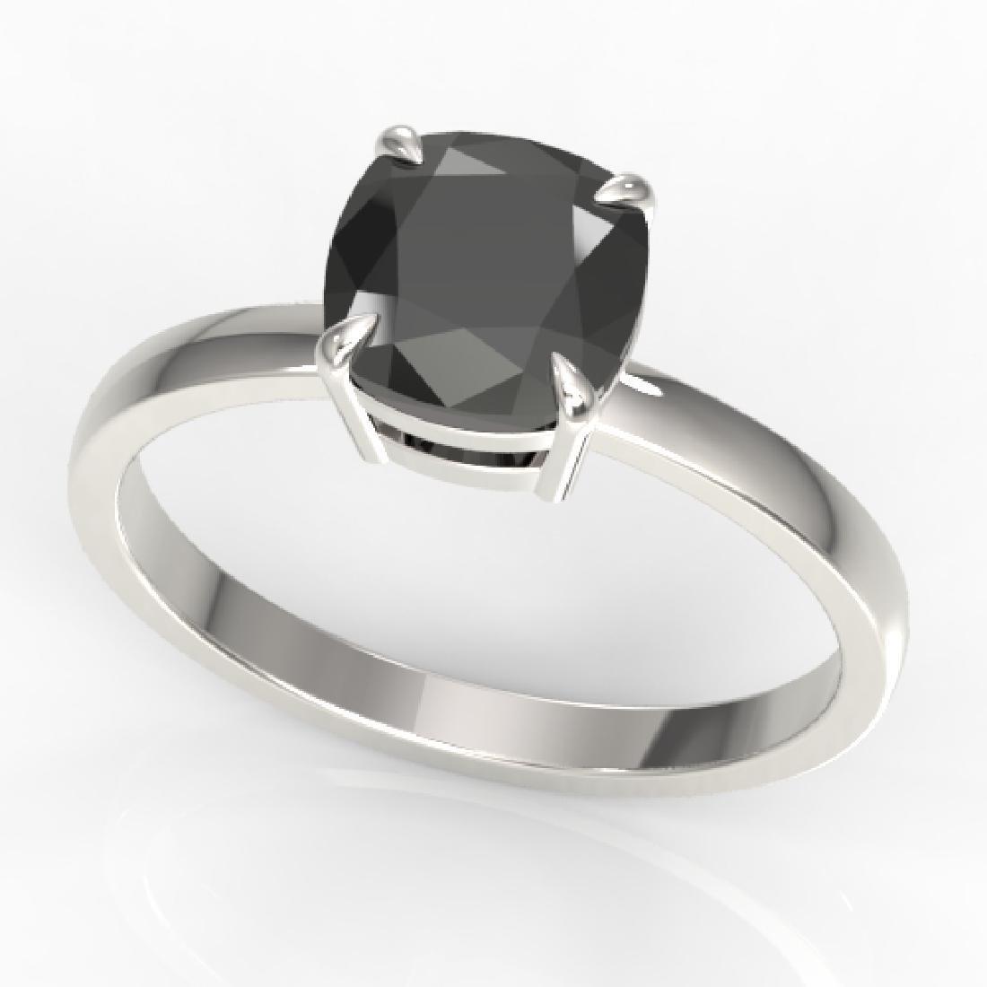 3 CTW Cushion Cut Black VS/SI Diamond Solitaire Ring - 2