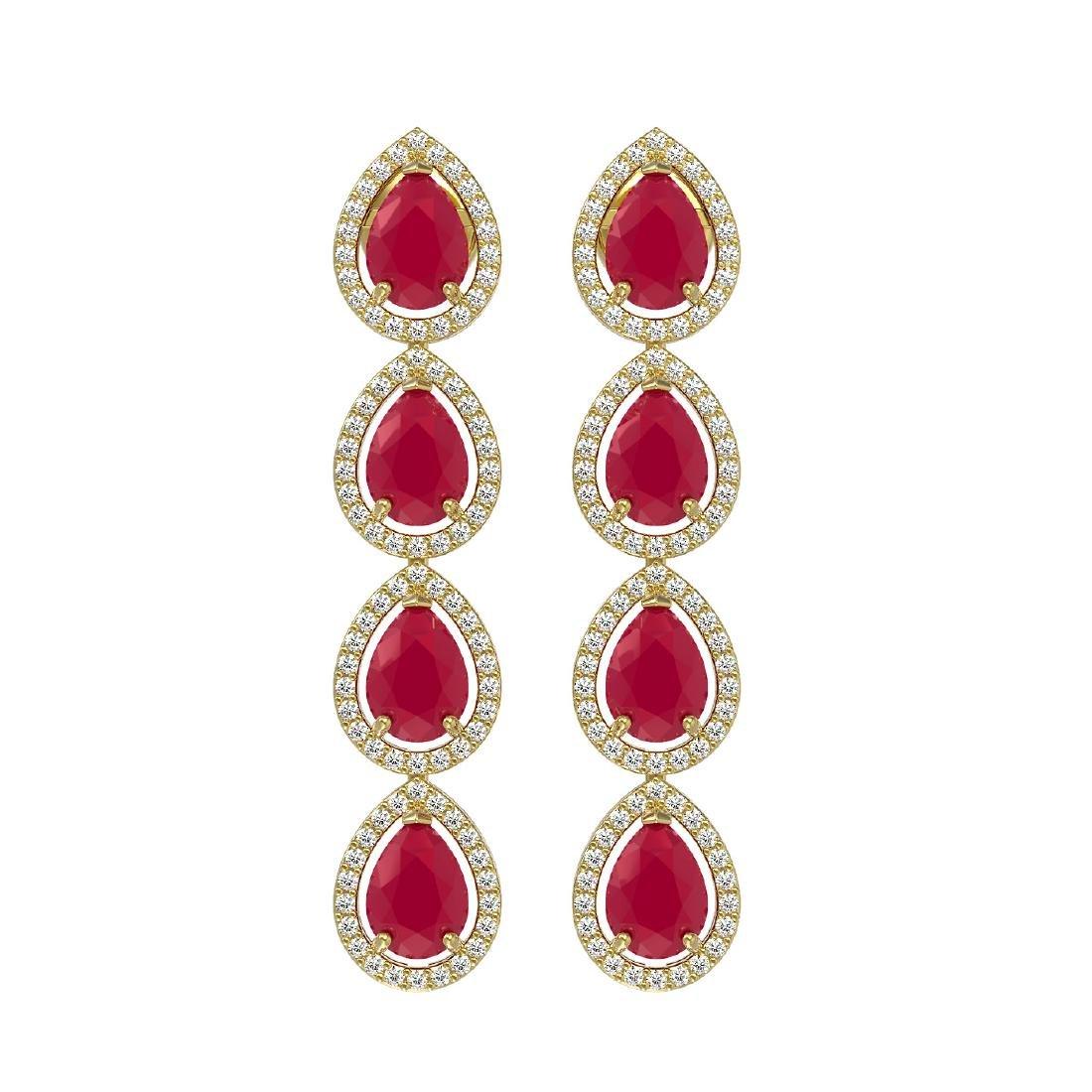 10.2 CTW Ruby & Diamond Halo Earrings 10K Yellow Gold