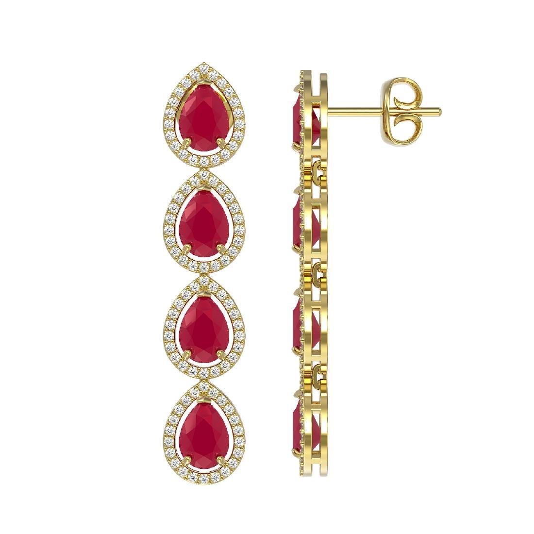 10.2 CTW Ruby & Diamond Halo Earrings 10K Yellow Gold - 2