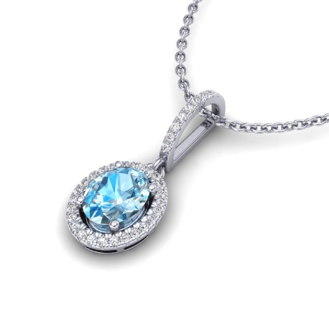 2 CTW Sky Blue Topaz & Micro VS/SI Diamond Necklace - 2