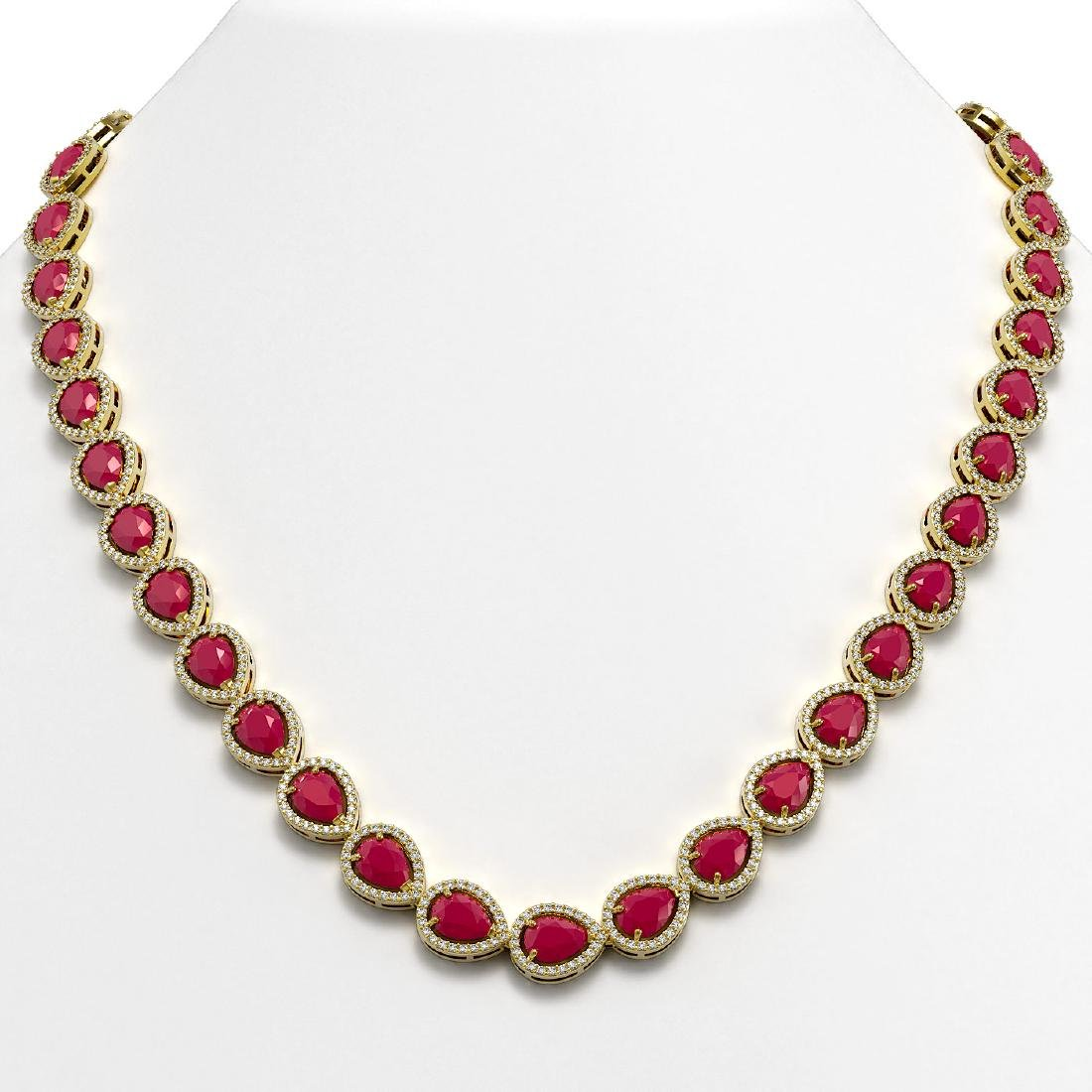 45.93 CTW Ruby & Diamond Halo Necklace 10K Yellow Gold