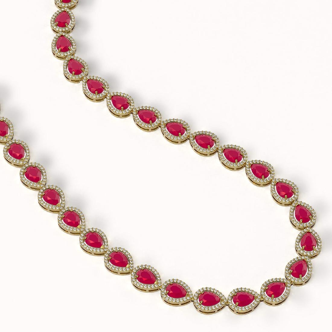 45.93 CTW Ruby & Diamond Halo Necklace 10K Yellow Gold - 2