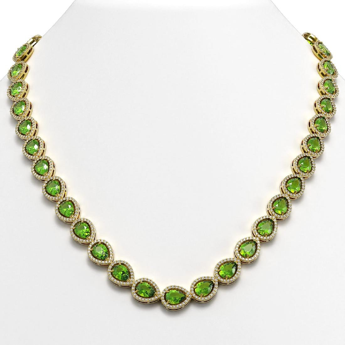 33.35 CTW Peridot & Diamond Halo Necklace 10K Yellow