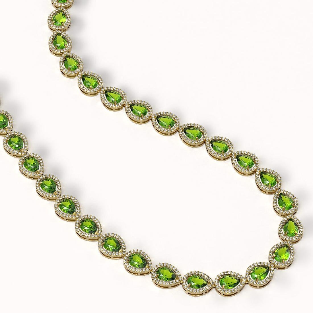 33.35 CTW Peridot & Diamond Halo Necklace 10K Yellow - 2
