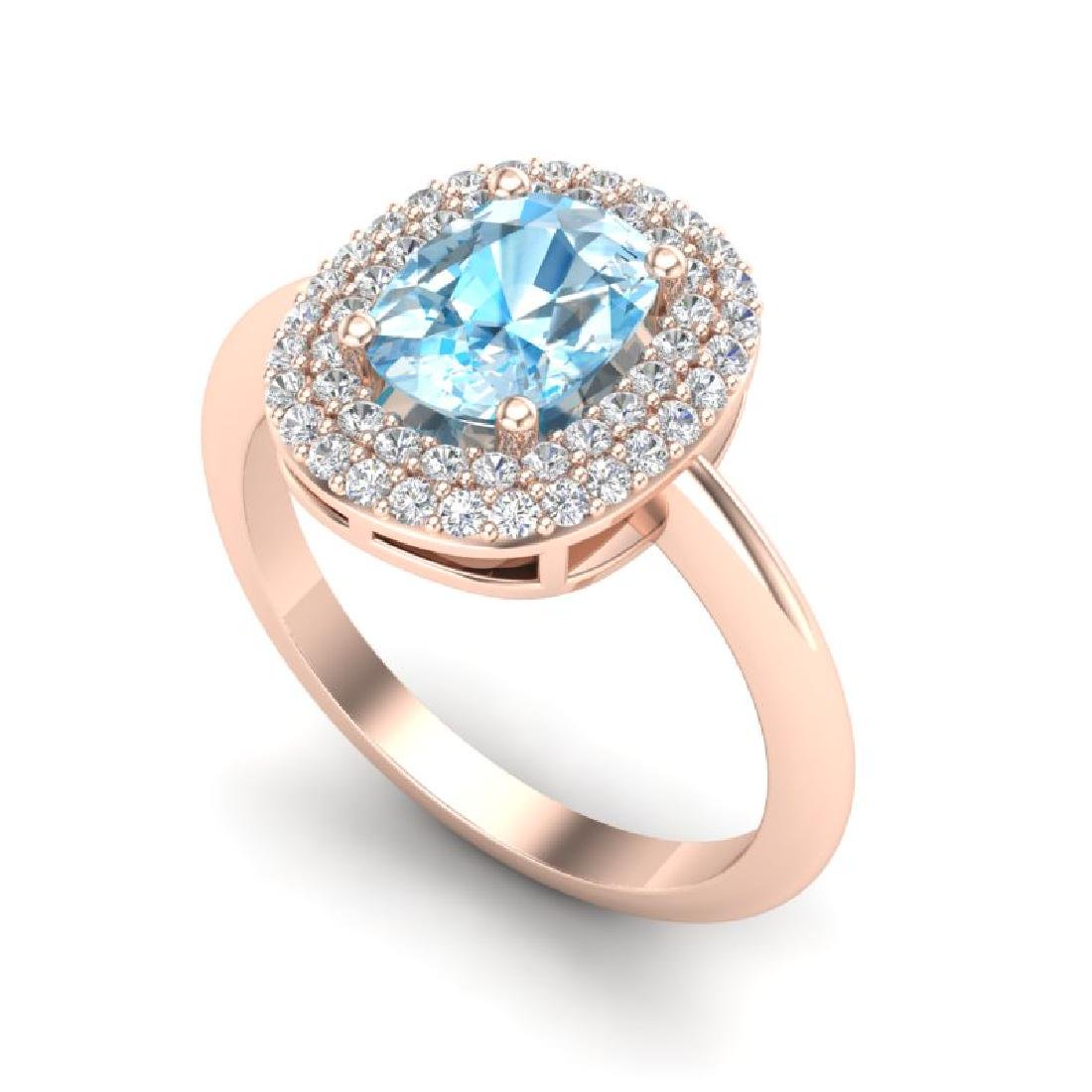 2.50 CTW Sky Blue Topaz With Micro VS/SI Diamond Ring - 2