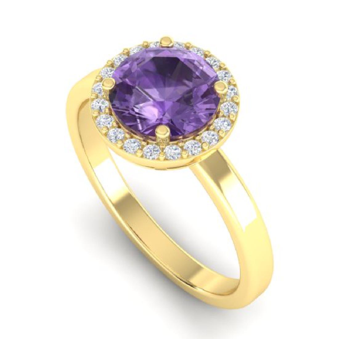 2 CTW Amethyst & Halo VS/SI Diamond Micro Pave Ring 18K - 2