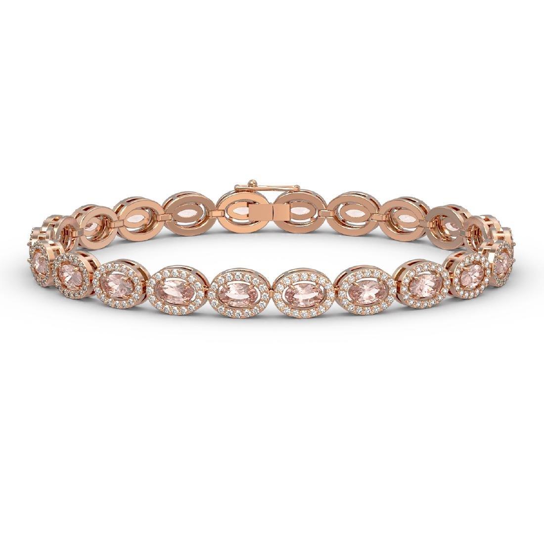 10.48 CTW Morganite & Diamond Halo Bracelet 10K Rose