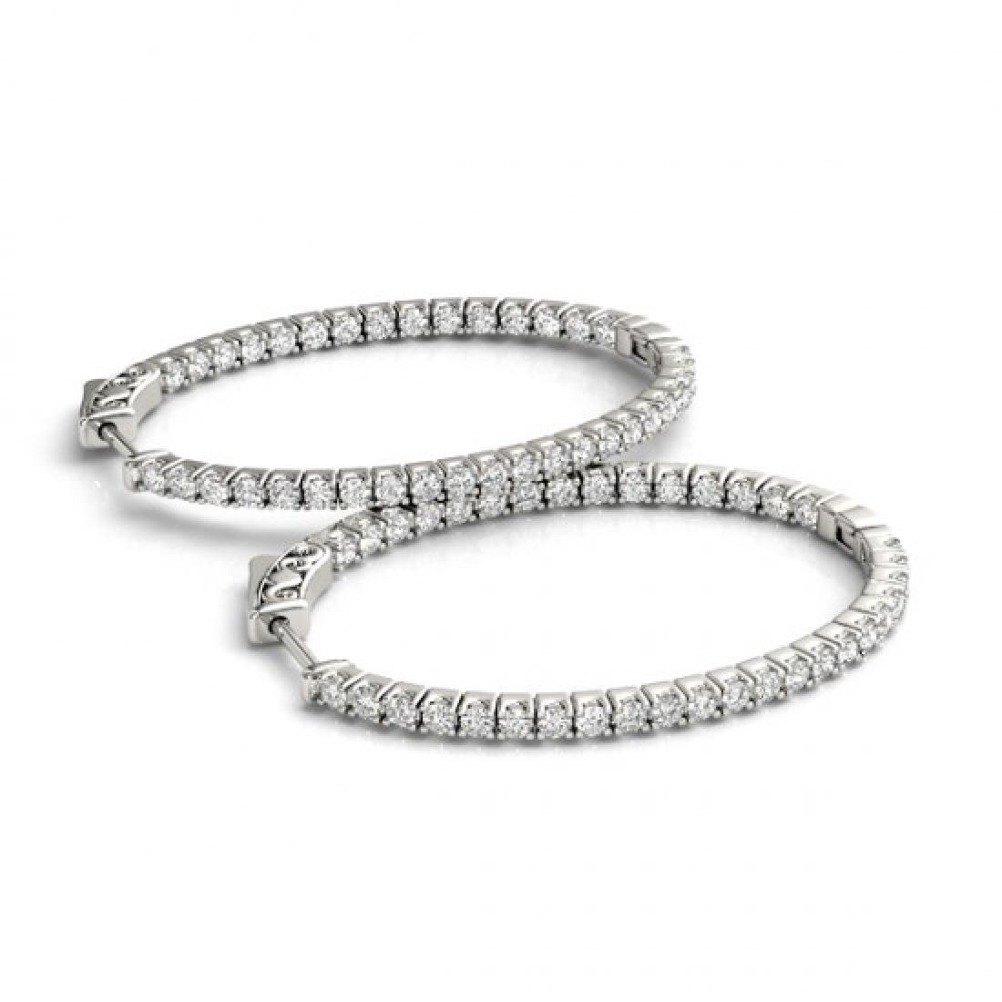 1 CTW Diamond VS/SI Certified 22 Mm Hoop Earrings 14K