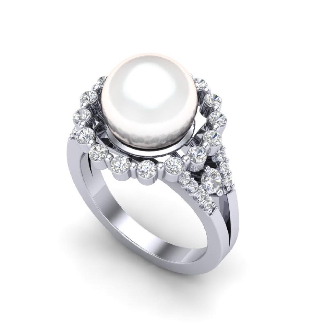 0.83 Ct Micro Pave VS/SI Diamond & White Pearl Halo - 2