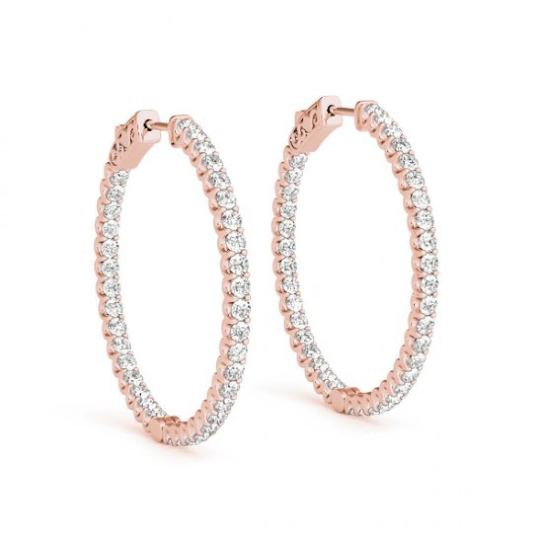 1.75 CTW Diamond VS/SI Certified 34 Mm Hoop Earrings - 2
