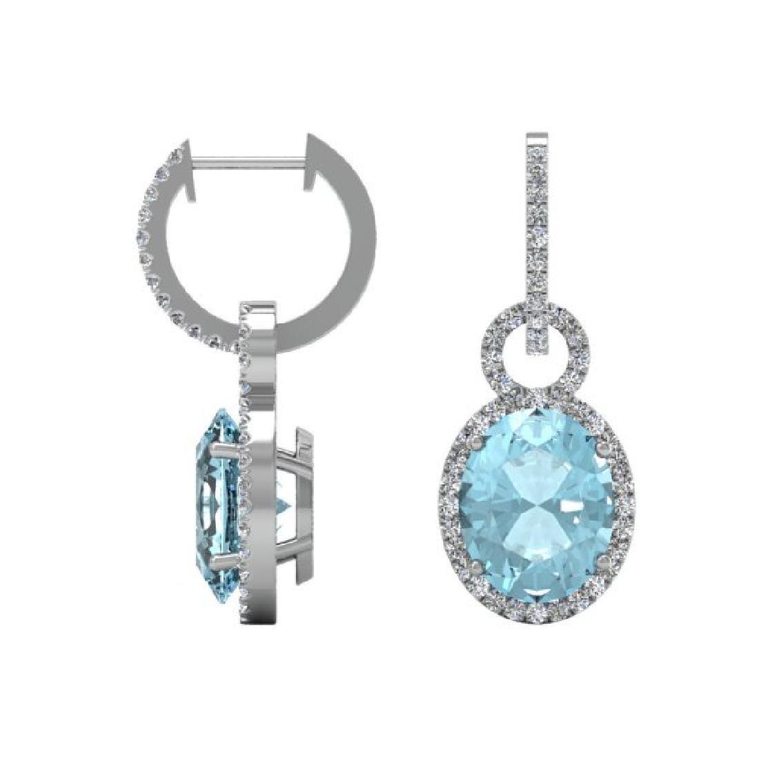 6 CTW Aquamarine & Micro Pave Halo VS/SI Diamond - 2