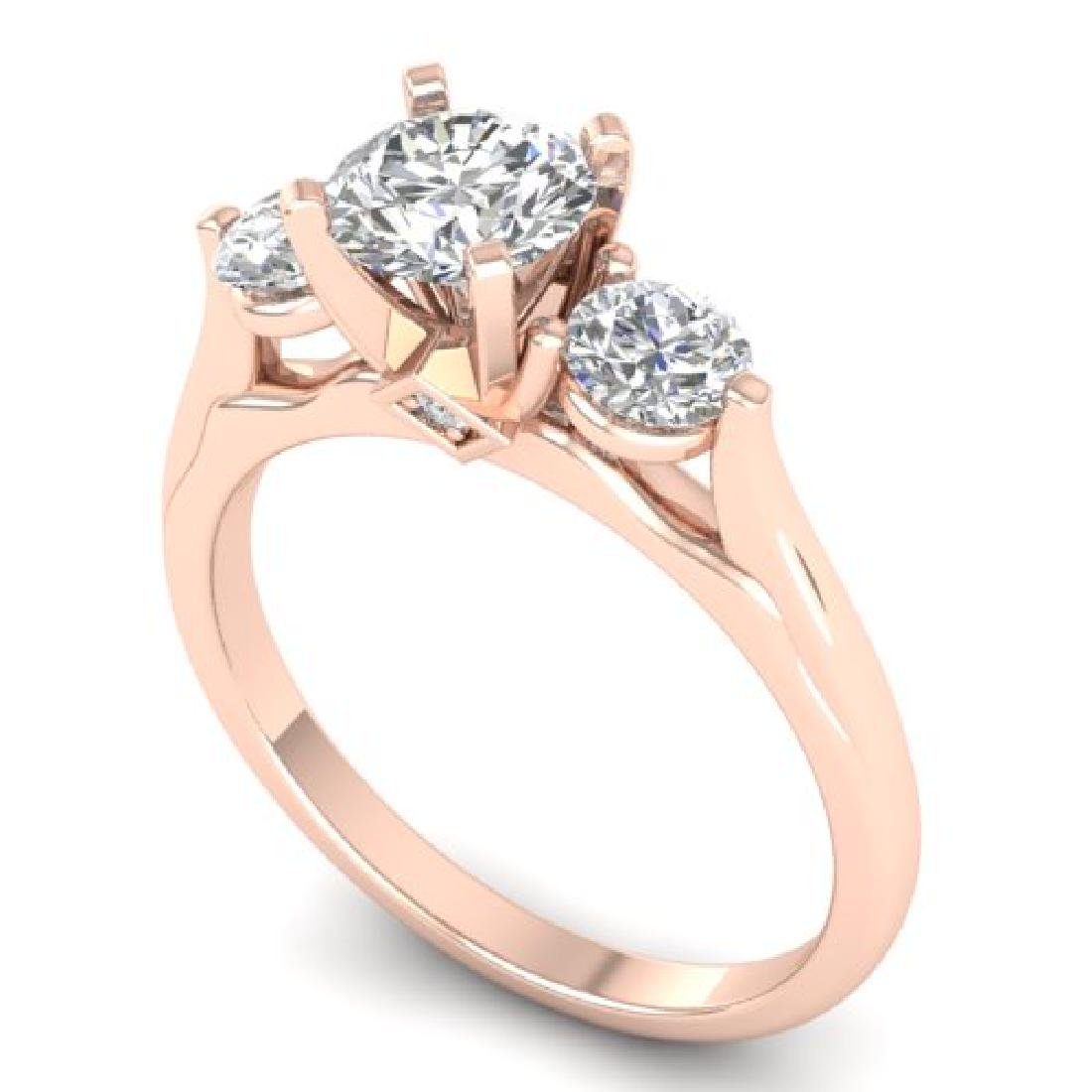 1.37 CTW Certified VS/SI Diamond Art Deco 3 Stone Ring - 2